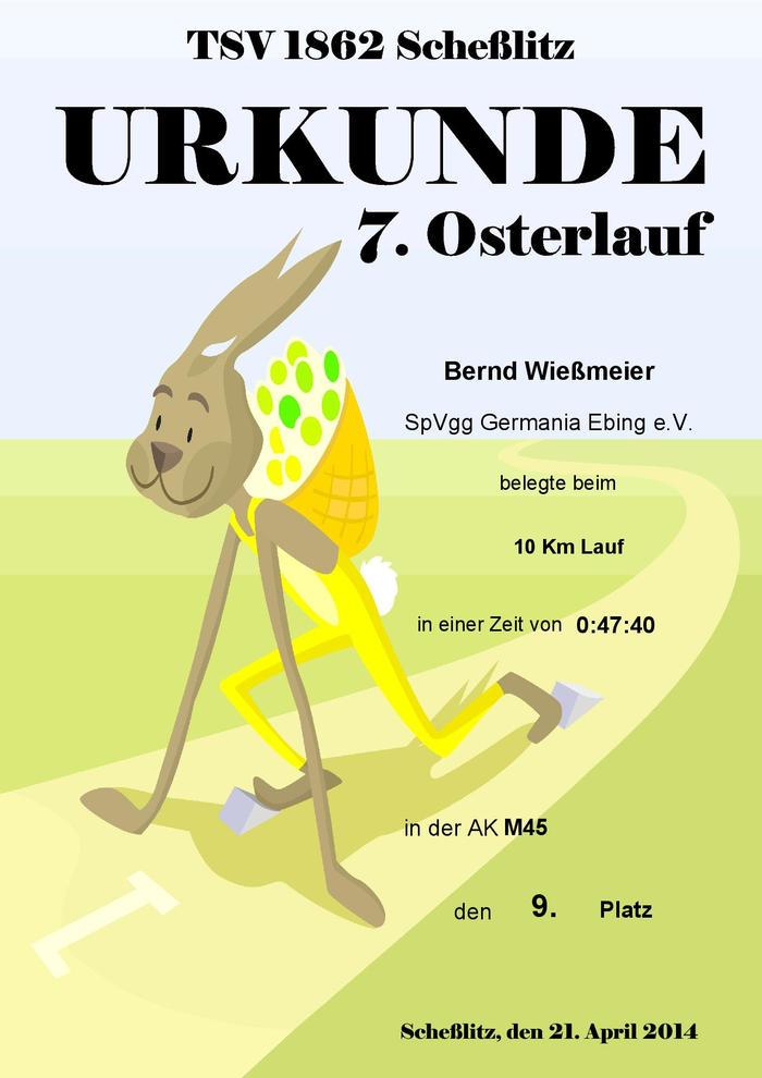 Urkunde 2014 Osterlauf Bernd